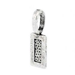 Antique Silver Plate, Bail 21 x 7mm, Tag shape, glue on pendants  50pcs