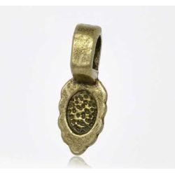 Antique Bronze Plate, Bail 16 x 6mm, leaf shape, 50pcs - SPECIAL PRICE