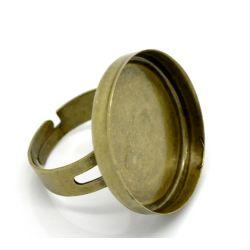 Adjustable Ring Base Blank, Antique Bronze, fit 25mm, 10pcs