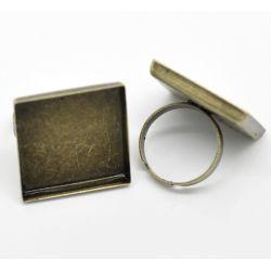 Adjustable Ring Frame, Antique Bronze, Tray 25 x 25mm, 10 pcs