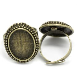 Adjustable Ring Frame, Antique Bronze, Oval 17.5mm, 10 pcs