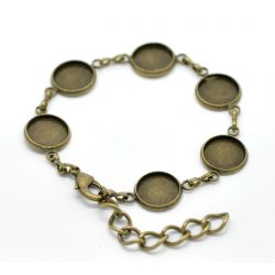 "Antique Bronze Round Cabochon Setting Disk Bracelets 18cm(7 1/8""), 2pcs"