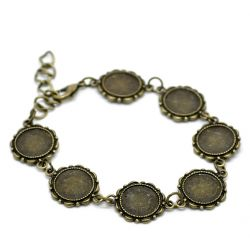"Antique Bronze Round Cabochon Setting Disk Bracelets 21cm(8 1/4""), 2pcs"