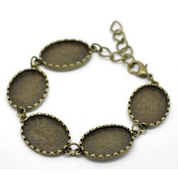 "Antique Bronze Oval Cabochon Setting Disk Bracelets 19cm(7 4/8""), 2pcs"