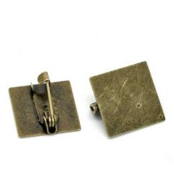 Antique Bronze Brooch, 15x15mm, with 15x15mm pad, 30pcs