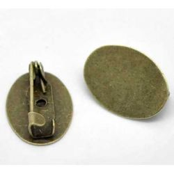 Antique Bronze Brooch,  17x12mm, with 17x12mm pad, 30pcs