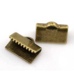 Ribbon Crimp Ends, antique bronze plated End Caps 10x8mm, 100pcs