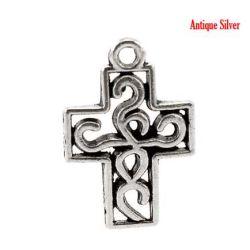 Antique Silver Cross Charm Pendant, 19x13mm, 50pc - Steampunk