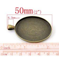 Antique Bronze Oval Frame Cabochon Setting Pendants 50x32mm(fits 40x30mm), 10pcs