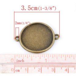 Antique Bronze Cabochon Round Setting 3.5x2.8cm(Fit 25mm), 20PCs
