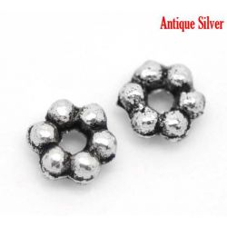 Flower Spacer Beads, Antique Silver Plated 3mm,  500 pcs