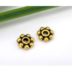 Flower Spacer Beads, Antique Gold Plated 5mm, 400 pcs