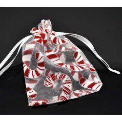 Organza Drawstring Bags Christmas Candy Cane Design, 9x12cm, 10pcs