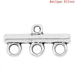 Antique Silver Plate, Ornate Connectors 1 to 3, 22x11mm, 50pcs