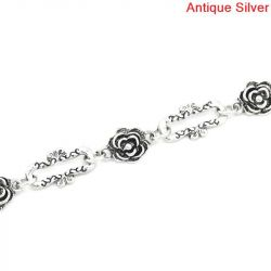 Antique Silver Flower Rectangle Chain Necklace, 15x3mm, 1 metre