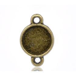 Antique Bronze Cameo Frame Settings Connectors 16x10mm (Fit 8mm), 100pcs