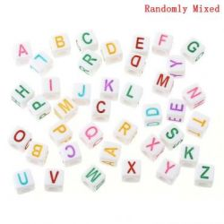 "Acrylic White Alphabet/Letter ""A-Z"" Cube Beads, 7 x 7mm, 300 pcs  - hole top to bottom"