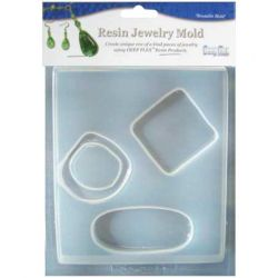 "Deep Flex Resin Jewellery Reusable Plastic Mold - Large Abstract 3 On 1 - Cavity 4-3/4""X7"""