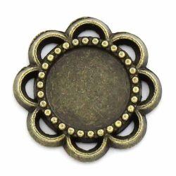 Antique Bronze Cameo Frame Settings Connectors 14x14mm (Fit 8mm), 100pcs