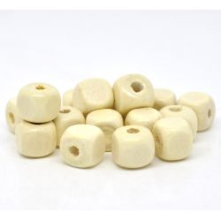 Wooden Beads Cube, 8mm, Cube - rounded edges, 200 pieces, Natural- Bulk