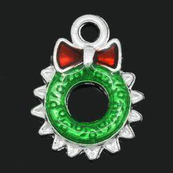 Silver Plate Enamel Christmas Wreath Charm Pendants, 18x13mm, 10pcs, Style 2