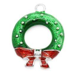 Silver Plate Enamel Christmas Wreath Charm Pendants, 25x19mm, 20pcs