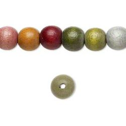 Wooden Beads Round, 20mm, Earth Colours, 16 inch strand
