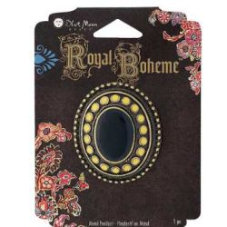 Royal Boheme - Black Yellow Metal Pendant, with black stone, 45x35mm, 1pc