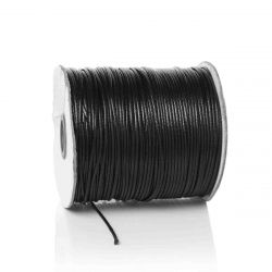 Waxed Cord, Black, 1.5mm, 1 roll - 200 metres