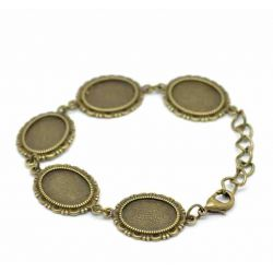 Antique Bronze Oval Cabochon Setting Disk Bracelets 21cm, 2pcs