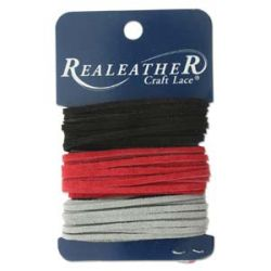 Sof-Suede Lace - Combo, Black, Red, Grey, 3 x 8ft