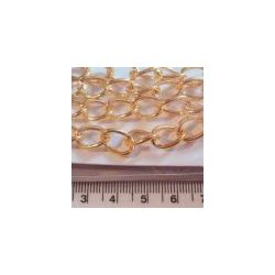 Gold Plated Twisted Oval Link Chain, 12 x8mm, 1metre