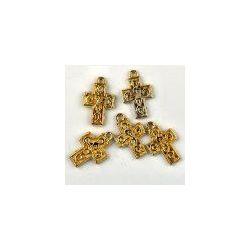 Gold Plate Cross Charm, 20mm, 6 pcs