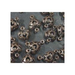 Filigree Heart Links, Antique Copper Plate, 10mm, 20pcs