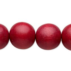 Wooden Beads Round, 16mm, Cranberry Red, 15 inch strand