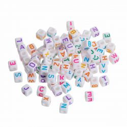 "Acrylic Mixed Alphabet/Letter ""A-Z"" Cube Beads, 7 x 7mm, 300 pcs"