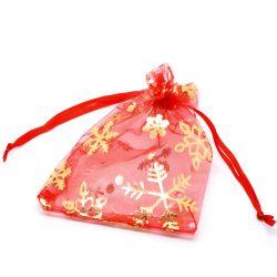 Organza Drawstring Bags  Red Christmas Snowflake Design, 9x12cm, 10pcs