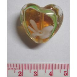 Glass Beads, Lampwork Heart, 28mm, Topaz/clear Design, 1pc