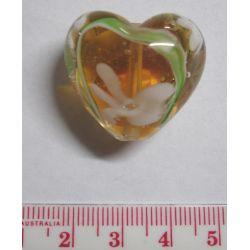 Glass Beads, Lampwork Heart, 28mm, Topaz/clear Design, 1pc