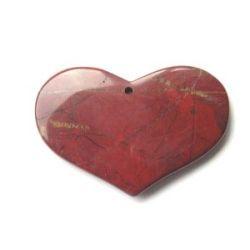 Jasper Breciated - heart pendant (40x65mm), 1pc huge