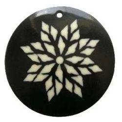 Bone - Round Pendant, Flower Design, Black Cream, (58mm), 1pc - Huge