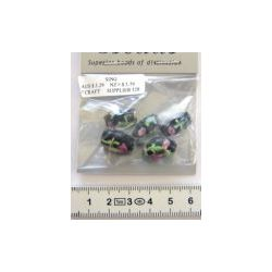 Lampwork glass beads, black oval with pink roses, 15x10mm, 5 pcs