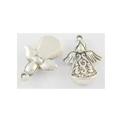 Antique Silver Angel Charm, 22mm long, 16.5mm wide, 5.5mm, 10 pcs - Christmas