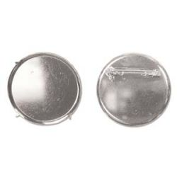Silver Plate Disc Part 40mm Disc Pin Brooch Back, 3 pcs