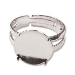 Silver Plate Disc Part 14mm Disc Finger Ring, 6 pieces