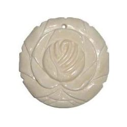 Bone - Carved Rose Pendant Cream, 40mm, 1pcs