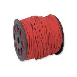 Ultra Micro Fibre Suede 3mm Red 5 metres, A Grade