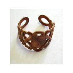 Ring Cuff Raw Brass with Pad, Filigree design, 1pc
