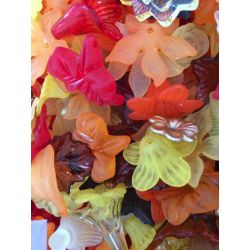 Acrylic Flower & Leaf Beads, Mixed Colours, Autumn, 100 grams,