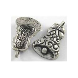 Antique Silver Christmas Bell Charm, 23 x 15mm, hole 2mm, 20 pcs